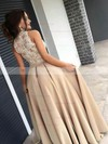 A-line High Neck Satin Tulle Sweep Train Appliques Lace Prom Dresses #Favs020105682