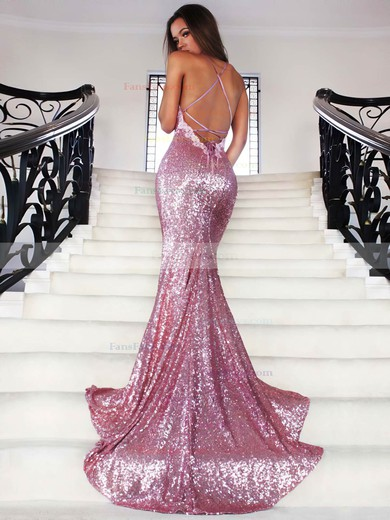 Trumpet/Mermaid V-neck Sequined Sweep Train Appliques Lace Prom Dresses #Favs020102499