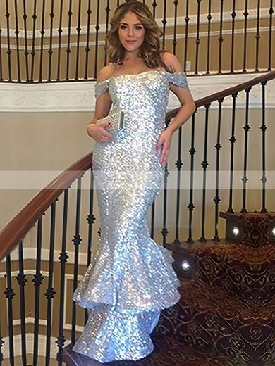 Trumpet/Mermaid Off-the-shoulder Floor-length Sequined Prom Dresses with Ruffle #Favs020103688
