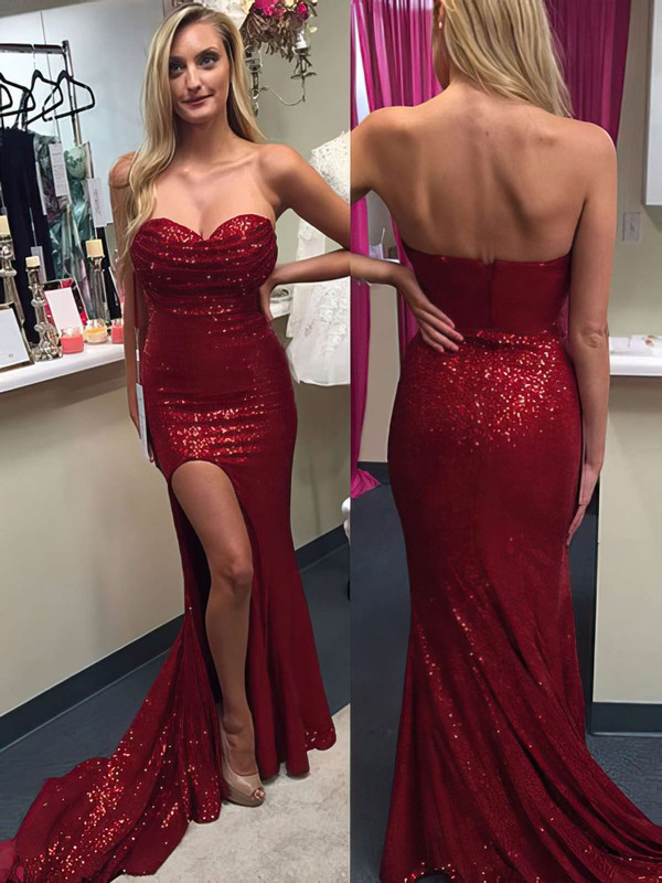 Trumpet/Mermaid Sweetheart Sequined Sweep Train Split Front Prom Dresses #Favs020104516