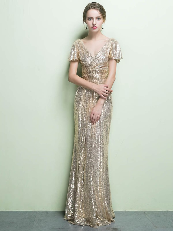 Sheath/Column V-neck Floor-length Sequined Prom Dresses with Sashes Ruffle #Favs020104869