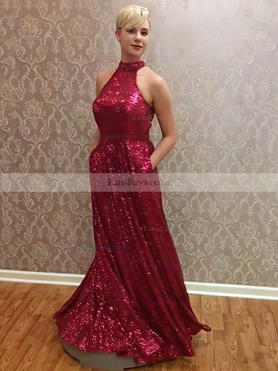 A-line Halter Sequined Floor-length Pockets Prom Dresses #Favs020104982