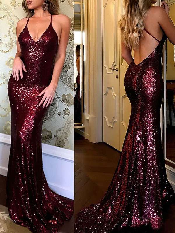Trumpet/Mermaid V-neck Sweep Train Sequined Prom Dresses #Favs020105807