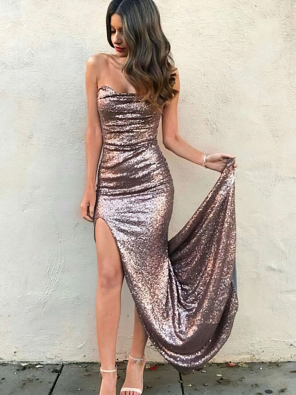 Sheath/Column Strapless Sequined Floor-length Split Front Prom Dresses #Favs020105817