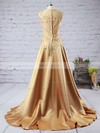 A-line V-neck Sweep Train Silk-like Satin Prom Dresses with Appliques Lace #Favs020102215