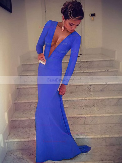Trumpet/Mermaid V-neck Silk-like Satin Sweep Train Prom Dresses #Favs02016904