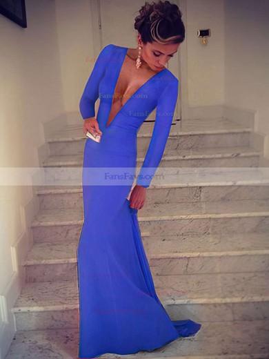 Trumpet/Mermaid V-neck Silk-like Satin Sweep Train Prom Dresses #Favs02016904