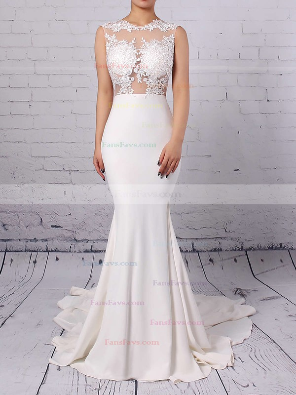 Modest Silk-like Satin Applique Lace Scoop Neck White Trumpet/Mermaid Long Prom Dresses #Favs02018838