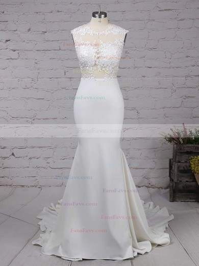 Trumpet/Mermaid Scoop Neck Sweep Train Silk-like Satin Prom Dresses with Appliques Lace Ruffle #Favs02018838