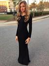 Sheath/Column Scoop Neck Jersey Floor-length Prom Dresses #Favs020103529