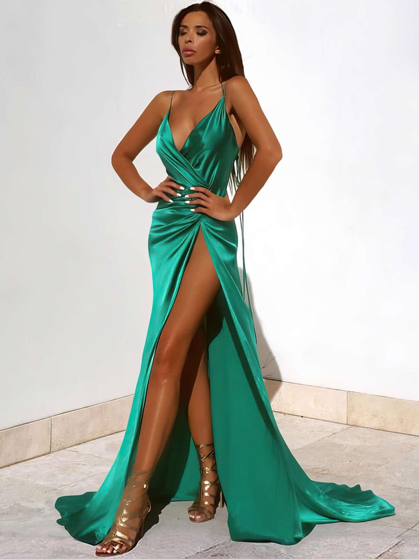 Sheath/Column V-neck Sweep Train Silk-like Satin Prom Dresses with Split Front #Favs020103771