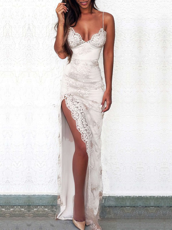 Sheath/Column V-neck Lace Floor-length Appliques Lace Prom Dresses #Favs020103652