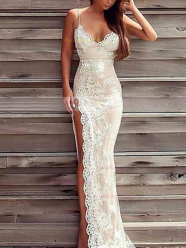 Sheath/Column V-neck Lace Floor-length Appliques Lace Prom Dresses #Favs020103652