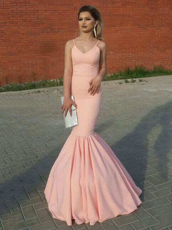 Trumpet/Mermaid V-neck Silk-like Satin Floor-length Prom Dresses #Favs020104909