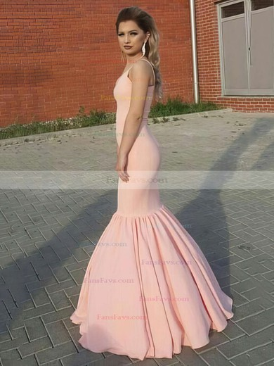 Trumpet/Mermaid V-neck Floor-length Silk-like Satin Prom Dresses #Favs020104909