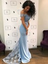 Sheath/Column Off-the-shoulder Sweep Train Silk-like Satin Prom Dresses with Appliques Lace #Favs020104920