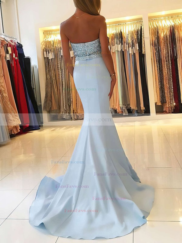 Trumpet/Mermaid V-neck Sweep Train Silk-like Satin Prom Dresses with Beading Sashes #Favs020104979