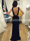 Sheath/Column Scoop Neck Jersey Floor-length Prom Dresses #Favs020105257