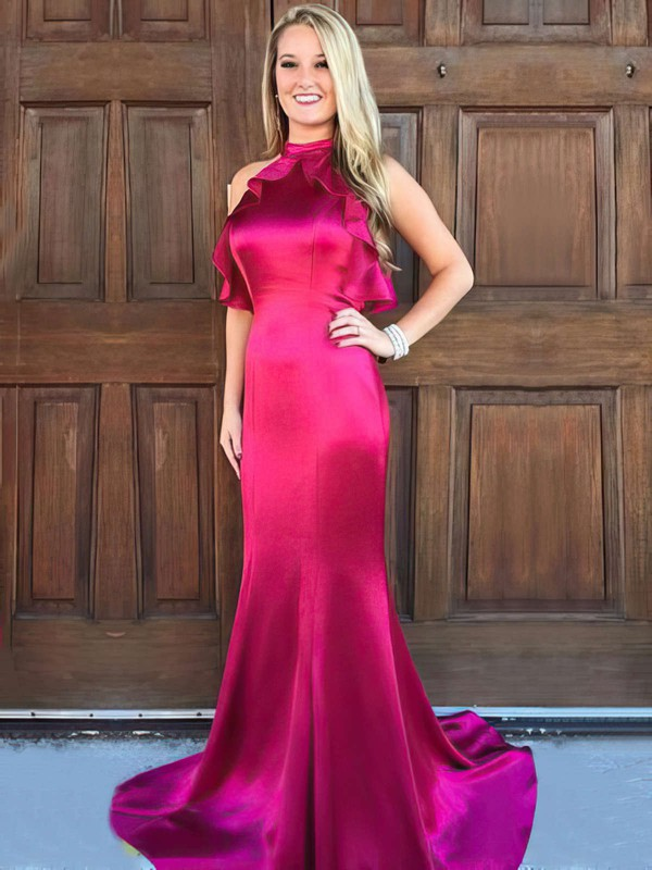Trumpet/Mermaid High Neck Silk-like Satin Sweep Train Ruffles Prom Dresses #Favs020105306
