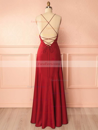 A-line V-neck Floor-length Silk-like Satin Prom Dresses with Ruffle Split Front #Favs020105324