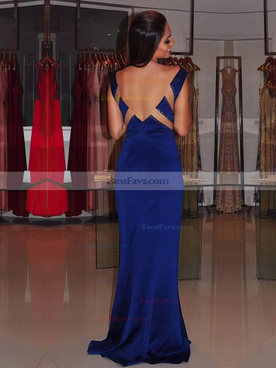 Sheath/Column V-neck Sweep Train Silk-like Satin Prom Dresses with Beading #Favs020105343