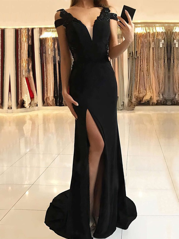 Trumpet/Mermaid V-neck Jersey Sweep Train Beading Prom Dresses #Favs020105475