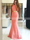 Trumpet/Mermaid Scoop Neck Stretch Crepe Sweep Train Sashes / Ribbons Prom Dresses #Favs020105507