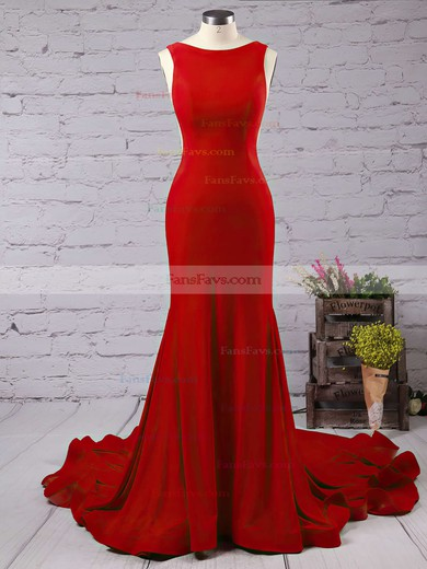 Trumpet/Mermaid Scoop Neck Jersey Court Train Prom Dresses #Favs020103588