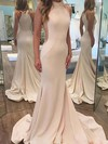 Trumpet/Mermaid High Neck Jersey Sweep Train Prom Dresses #Favs020105531