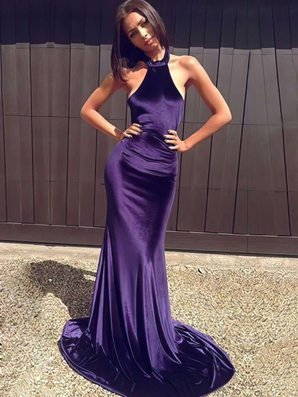 Trumpet/Mermaid Halter Velvet Sweep Train Prom Dresses #Favs020105556