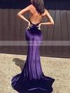 Trumpet/Mermaid Halter Velvet Sweep Train Prom Dresses #Favs020105556