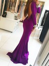 Trumpet/Mermaid Scoop Neck Sweep Train Silk-like Satin Prom Dresses with Beading #Favs020105582