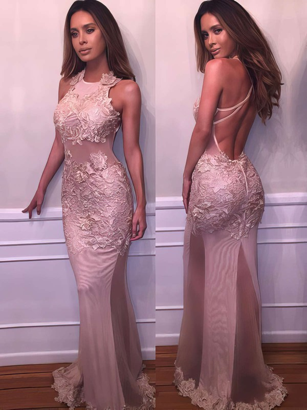 Trumpet/Mermaid Scoop Neck Tulle Floor-length Appliques Lace Prom Dresses #Favs020103669