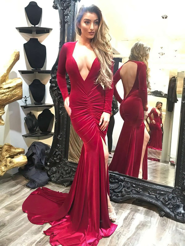 Trumpet/Mermaid V-neck Velvet Sweep Train Split Front Prom Dresses #Favs020105614