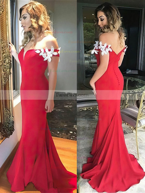 Trumpet/Mermaid Off-the-shoulder Jersey Sweep Train Appliques Lace Prom Dresses #Favs020105704