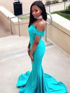 Trumpet/Mermaid Off-the-shoulder Jersey Sweep Train Prom Dresses #Favs020105711