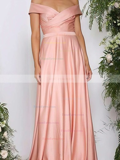 A-line Off-the-shoulder Sweep Train Silk-like Satin Prom Dresses with Ruffle #Favs020105737