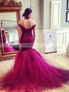 Trumpet/Mermaid Off-the-shoulder Tulle Sweep Train Appliques Lace Prom Dresses #Favs020103736