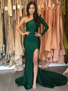 Trumpet/Mermaid One Shoulder Jersey Sweep Train Split Front Prom Dresses #Favs020105746