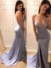 Trumpet/Mermaid V-neck Sweep Train Silk-like Satin Prom Dresses with Split Front #Favs020105753