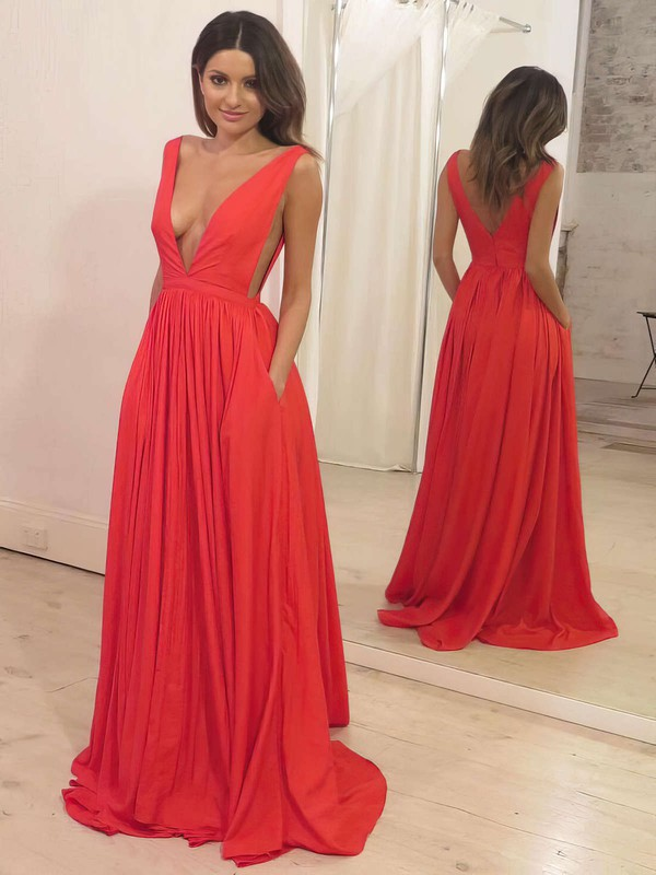A-line V-neck Silk-like Satin Sweep Train Pockets Prom Dresses #Favs020105773