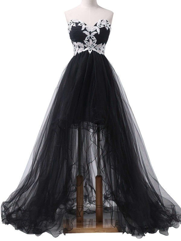A-line Sweetheart Asymmetrical Tulle Prom Dresses with Appliques Lace #Favs020101693