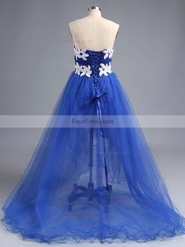 Princess Sweetheart Tulle Asymmetrical Appliques Lace Prom Dresses #Favs020101693