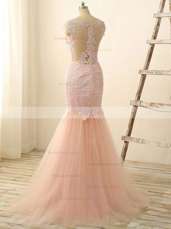Trumpet/Mermaid Scoop Neck Tulle Floor-length Appliques Lace Prom Dresses #Favs020101832