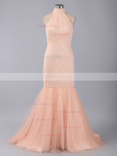 Trumpet/Mermaid High Neck Sweep Train Tulle Prom Dresses with Beading #Favs020101846