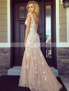 Trumpet/Mermaid Scoop Neck Sweep Train Tulle Prom Dresses with Appliques Lace Sashes #Favs020102164