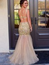 Champagne Backless Tulle Crystal Detailing Trumpet/Mermaid Luxurious Prom Dress #Favs02018678