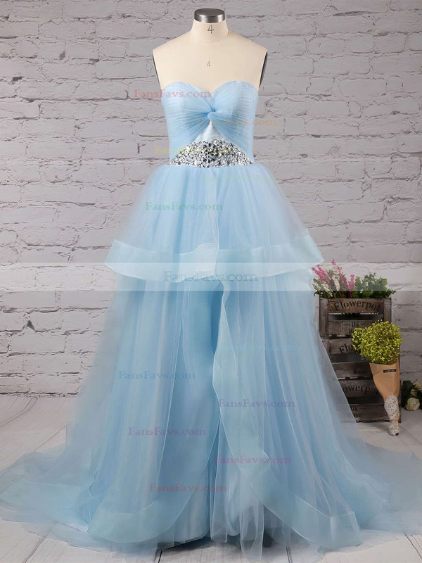 Princess Sweetheart Court Train Tulle Prom Dresses with Beading Ruffle #Favs020102403