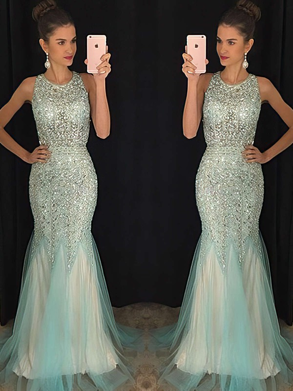 Trumpet/Mermaid Scoop Neck Floor-length Tulle Prom Dresses with Beading #Favs020102448