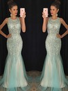 Trumpet/Mermaid Scoop Neck Tulle Floor-length Beading Prom Dresses #Favs020102448